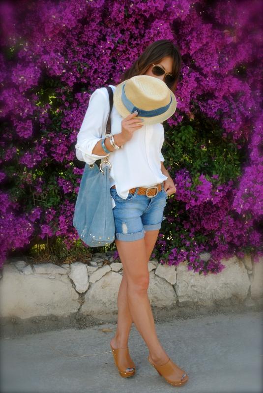 Zara gold studded shoulder top, Heritage cut-offs