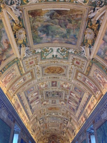 Hallway within the Vatican Museum. No photos are allowed within the Sistine Chapel.
