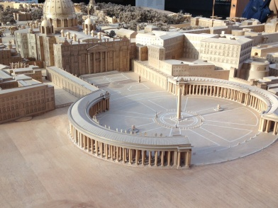 Wood model of Vatican & St. Peters square. where my hotel, the Hotel Columbus was nearly 2 blocks away.