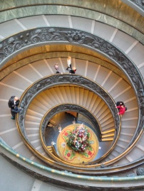 Exciting the Vatican Museum via winding spiral staircase