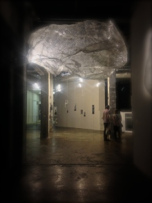 Tatiana Wolska's Organic cloud, untitled. Behind are Vivien Roubard's subverting techniques in glass.