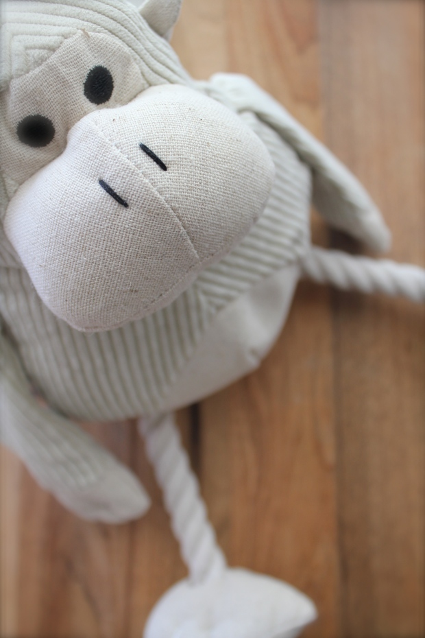 This comfort monkey has a hidden squeaker and helps clean teeth.